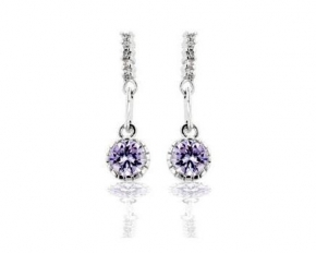 Lavender CZ Dangle Earrings