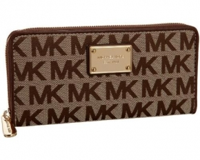 Michael Kors Logo Zip-Around Continental Wallet - Mocha
