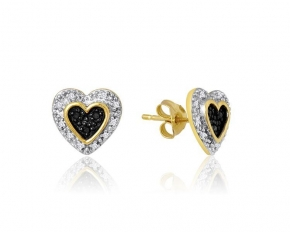 925 Silver .10 Ct Diamond Heart Earrings