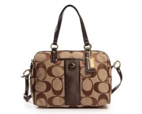 Coach Signature Stripe Satchel - Khaki / Brown