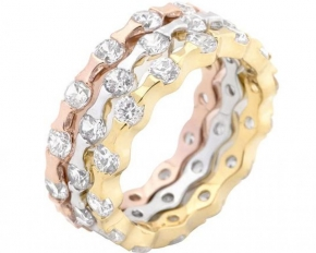 Michelle Mies 14 Karat Gold Tritone Stackable Rings - Size 7