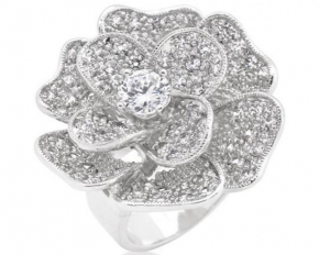 Michelle Mies Large Flower Cubic Zirconia Cocktail Ring - Size 8