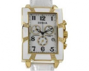 Dedia Ladies Lily MR Leather Strap Quart Diamond Watch - White - 6201MR010