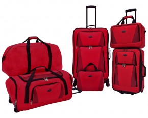 U.S. Traveler Bradford 5-Piece Luggage Set - Red