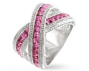 Michelle Mies White Gold Twisting Pink Band Ring - Size 8