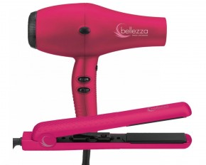 "Bellezza BZA-DUODI-PIMR Pro Beauty 1.25"" Flat Iron and Hair Dryer Set"