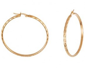 Lesa Michelle Stainless Steel 50 mm Gold Plated Diamond Textured Round Hoop Earrings
