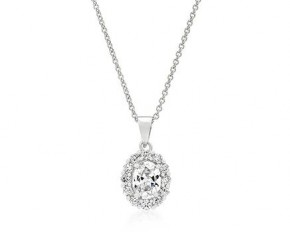 Michelle Mies White Gold Clear Stone Estate Pendant