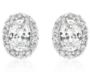 Michelle Mies White Gold Rhodium Stone Estate Earrings