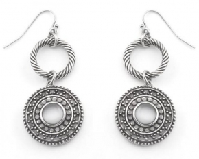 Michelle Mies Antique Silver Double Hoop Drop Earrings