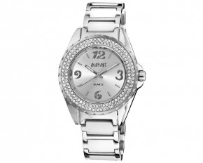August Steiner Women's Quartz Crystal Ceramic Bracelet Analog Watch - Silver Sunray - AS8036WT