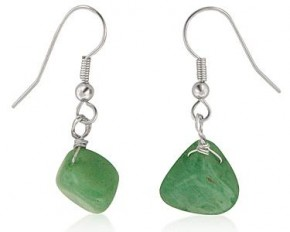 Michelle Mies White Gold Green Drops Earrings