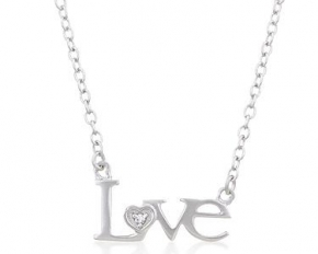 White Gold Rhodium Bonded Love Necklace