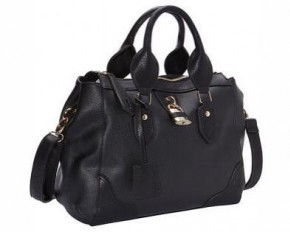 R&R Collections Top Zip Tote with Lock & Detachable Strap - Black