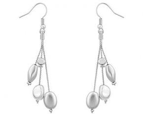 Michelle Mies Beaded Dangle Drop Earrings - Silvertone