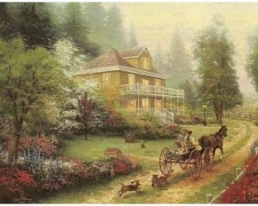 "Thomas Kinkade ""Sunday at Apple Hill"" Print - 11"" X 14"""