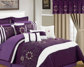 Lavish Home Purple Floral 24-Piece Room-In-A-Bag Bedroom Set - Queen