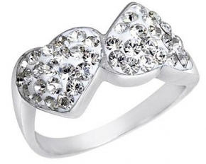 Swarovski Elements SS Heart Ring - Size 9