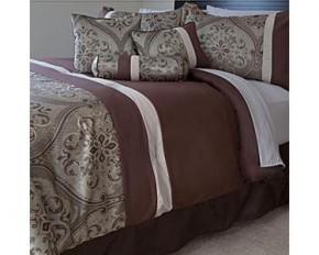 Lavish Home 7-Piece Geneva Comforter Set - King - Green & Brown