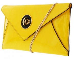 Melie Bianco Saura Patent Envelope Clutch - Yellow