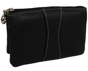 AmeriLeather Mini Zip Wristlet - Black