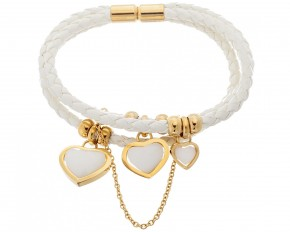 Lesa Michelle Stainless Steel 3 White Leather Agate Heart Bracelet