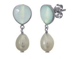 925 Silver Chalcedony & Pearl Earrings