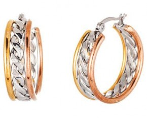 Lesa Michelle Stainless Steel Braided Round Hoop 3 Tone Earrings