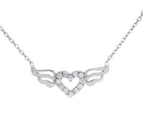 Lesa Michelle Sterling Silver Cubic Zirconium Wings Heart Cable Necklace with Rhodium