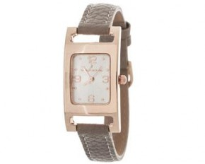 Via Nova Women's Rose Case and Leather Band Analog Watch - Gray