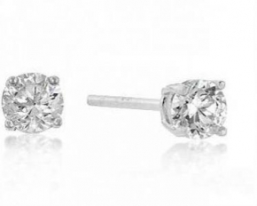 Michelle Mies White Gold Rhodium 5mm Round Cut Cubic Zirconia Sterling Studs