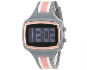 Activa Unisex Polyurethane Strap Digital Watch - Grey/White/Pink
