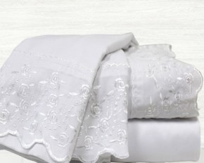 Colonial Home Textiles Lace Embrodiery Microfiber Sheet Set - Queen - White