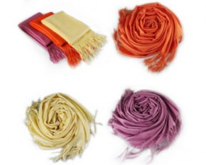 Pashmina Scarves Luxurious Wool & Silk Blend - 3-Pack - Yellow/Orange/Pink