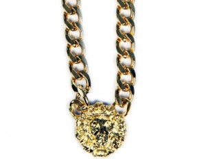 Jadore Bijoux Cuban Link Gold Overlay Lion Head Necklace