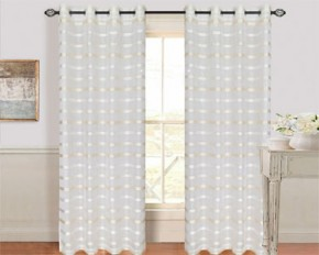 Lavish Home 108-Inch Alla Grommet Curtain Panel - White & Cream