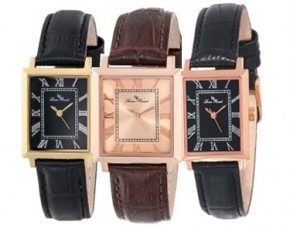 Lucien Piccard - Women's Bianco Gold & Black Genuine Leather Quartz Watch