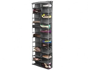 Bell Howell Over the Door 26 Pocket Shoe Rack - Gray