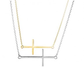 Lesa Michelle Stainless Steel Sideways Cross Necklace
