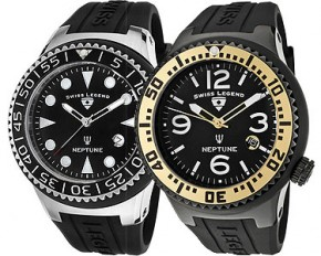 Swiss Legend Men's Neptune Black Silicone Watch with Black Analog Dial