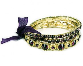 Jadore Bijoux Gold Plated Three Row Rhinestone Stretch Bracelet - Purple & Gold