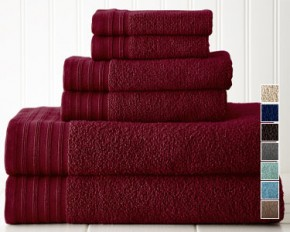 Colonial Home Textiles Quick Dry 6-Piece Towel Set - Biking Red