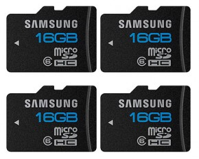 Samsung 16GB Class 6 Shock and Waterproof microSD Memory Cards - Pack of 4