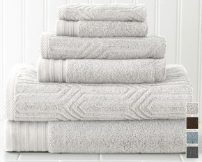 Colonial Home Textiles Geo Waves 6-Piece Jacquard-Solid Towel Set - White