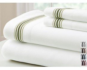 Colonial Home Textiles 5 Line Marrowing Hem 4-Piece Sheet Set - Full - Blue