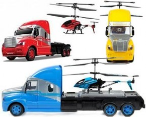 World Tech Toys 35861 Mega Hauler 3.5-Channel Helicopter and Truck Combo - Red
