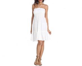 Club Z White Cotton Smocked Dress - Small