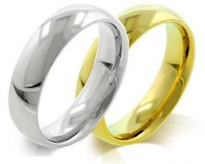 Unisex Steel Classic Wedding Band - Goldtone - Size 12