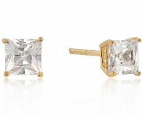 Michelle Mies 14 Karat Gold 5mm Princess Cut Cubic Zirconia Sterling Studs