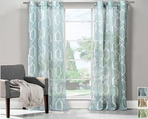Geometric Print Grommet Window Curtains - Blue